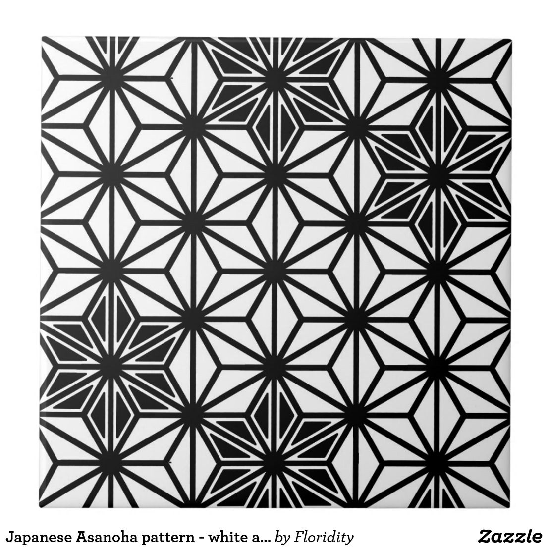 Japanese Asanoha Or Star Pattern, White And Black Tile