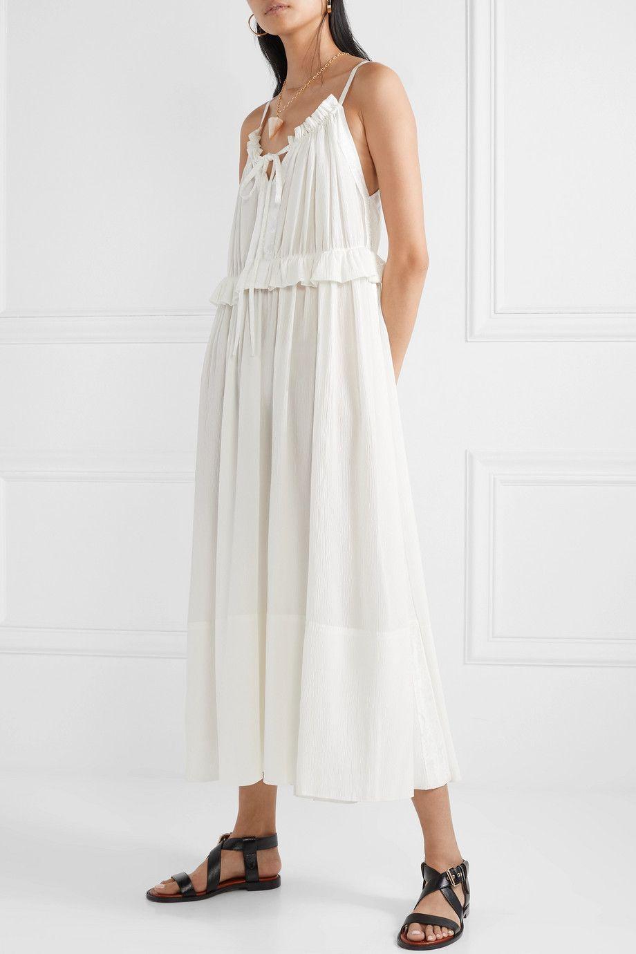 White Ruffled Jacquard Trimmed Silk Crepon Midi Dress Chloe Bohemian Dress Dresses Midi Dress [ 1380 x 920 Pixel ]
