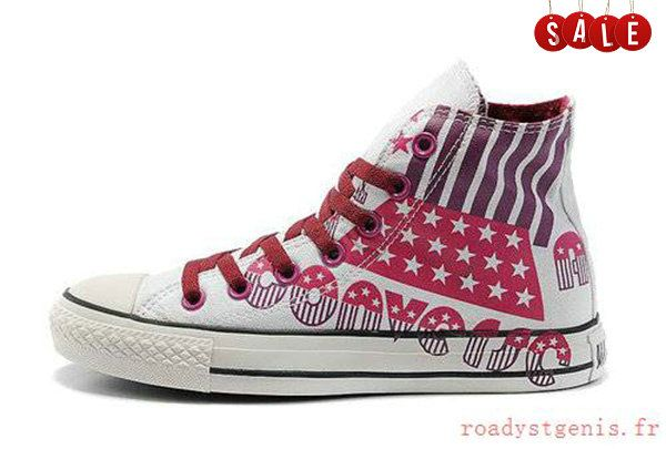 87cfc3f56ff1d9 Converse All Star 2012 American Flag And Letters Graffiti High Top Canvas  Summit White Wine Red Blood Red