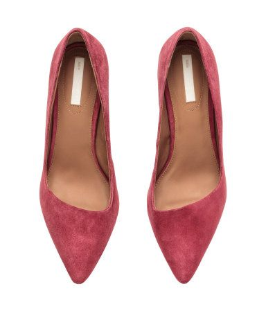 096822447ee Raspberry pink suede pumps with pointed toes   asymmetrical cut fronts.