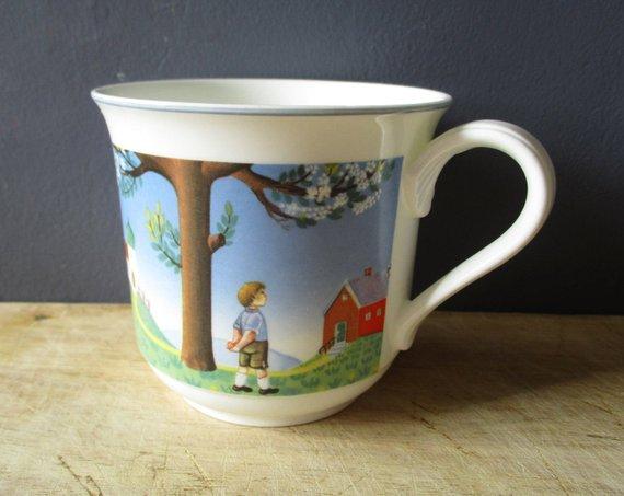 Vintage Mug Cup Villeroy Boch 1980s Chocolat Cup Retro Kitchen Tasse Germany German Mugs Mug Cup Retro