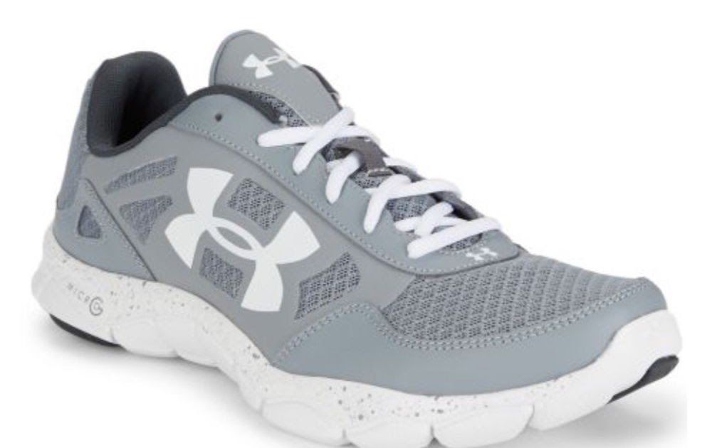 Under Armour UA Micro G Engage Big Logo 2 Running Shoes Steel /White MENS  Size