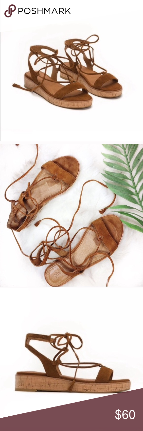838bda16f407 Frye Miranda Gladiator Tie Up Sandals These are in good pre own condition  with slight wear. (See photos) Inside of left shoe has bubbles up on cork  area.