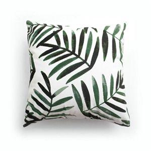 Simple Modern Velvet Green Leaf Pillow