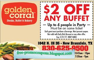 graphic about Coupon for Golden Corral Buffet Printable named Totally free Printable Golden Corral Discount codes my discount coupons Golden