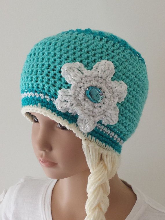 Frozen Inspired Snow Queen Elsa Crochet Hat With Braid - Girl Sizes ...