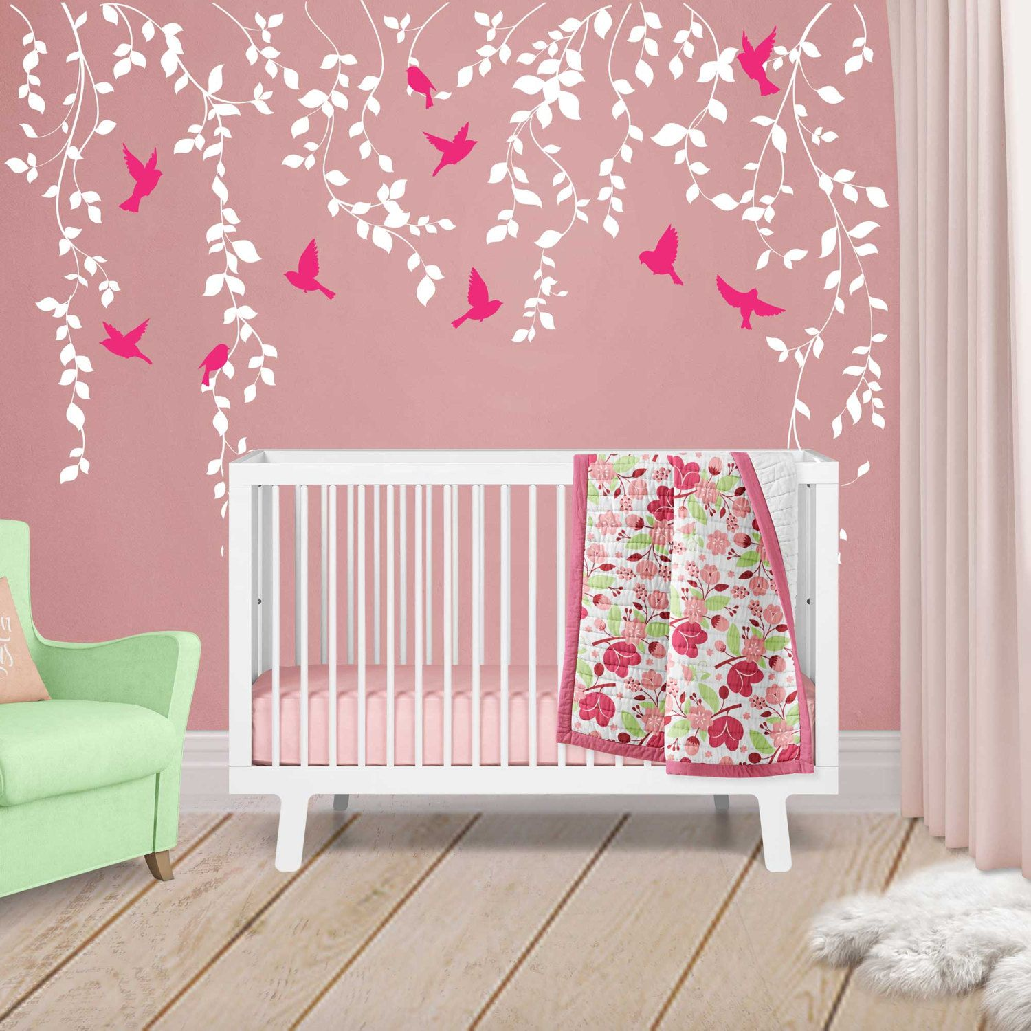 Vine Wall Decal For Baby Girl Nursery Décor   Wall Vines Nursery Decals  Large Tree Wall Decal   Baby Wall Decal Tree With Birds   WB402 By  Wordybirdstudios ...