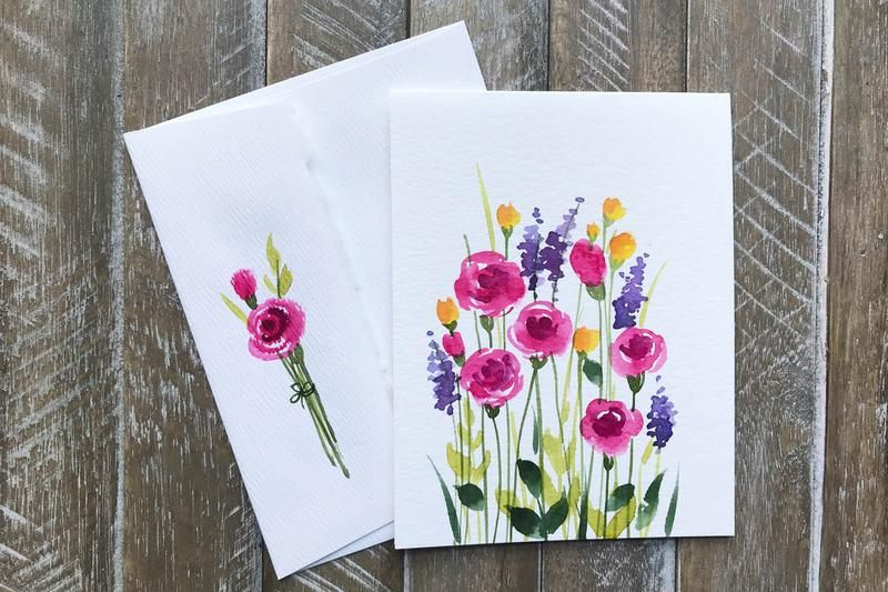 Hand Painted Greeting Cards With Flowers Watercolor Ink