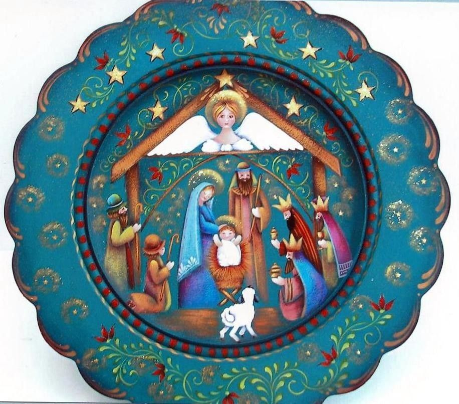 Auctiva Image Hosting Christmas Nativity Scene, Christmas Wood, Christmas Holiday, Christmas Ornament, Painting Words, Love Painting, Tole Painting Patterns, Painted Plates, Pintura Country #tolepainting