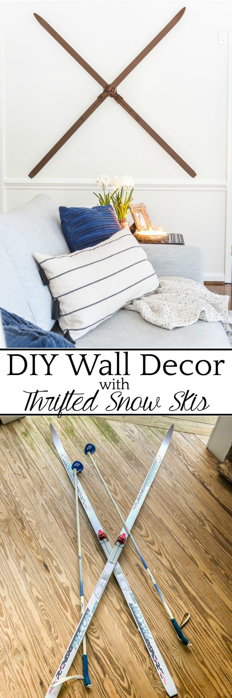 Faux antique winter skis wall decor makeover decorating