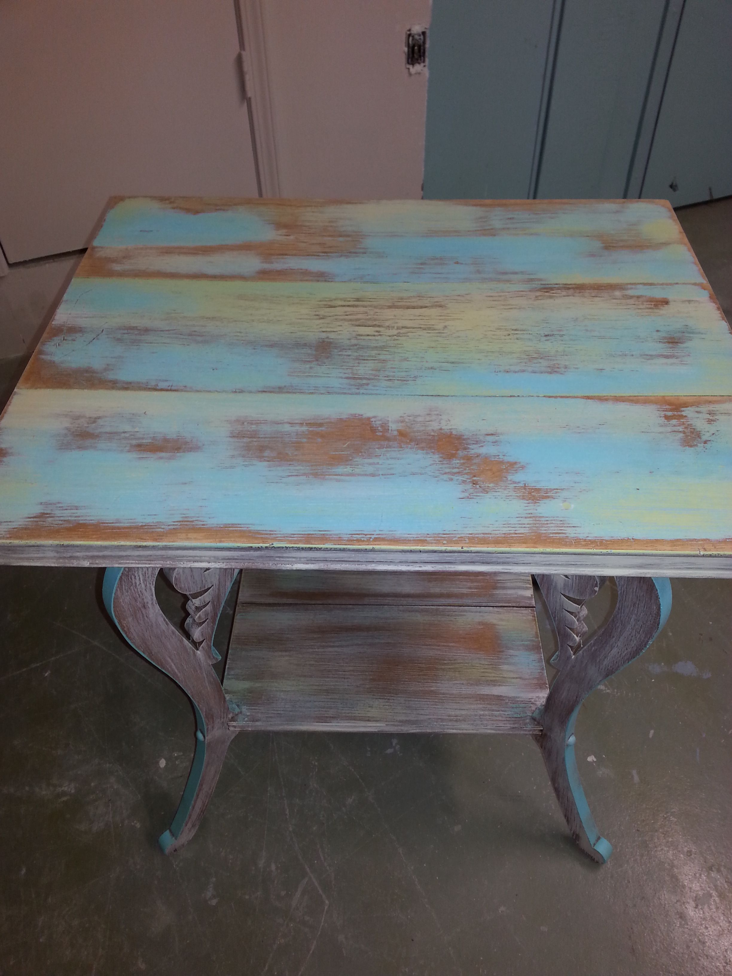 multi colored painted furniture. Multicolored Table Painted With Coastal Palm, Turquoise Toulouse, Dijon And Creamy Linen. Farmhousepaint Multi Colored Furniture
