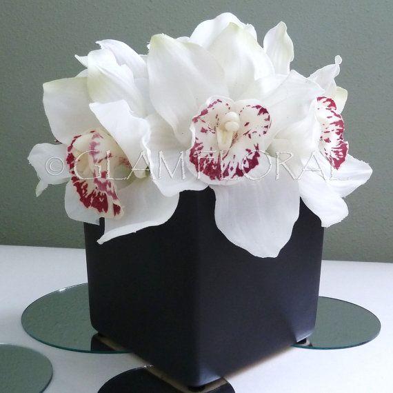 Cymbidium Orchids In Square Vase Centerpiece Or Floral