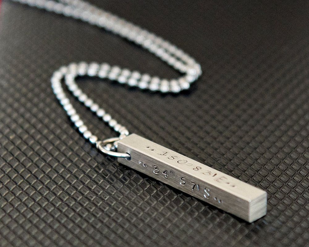 Menus steel bar necklace hand stamped pendant personalized