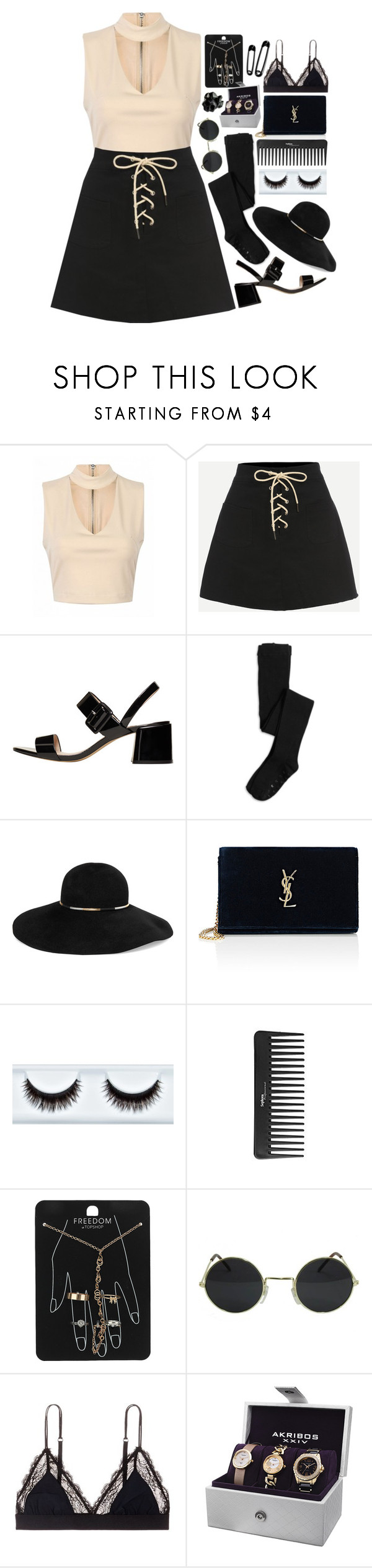"""Untitled #657"" by wendyvc ❤ liked on Polyvore featuring MANGO, Eugenia Kim, Yves Saint Laurent, Sephora Collection, Topshop, LoveStories, Akribos XXIV and Macabre Gadgets"