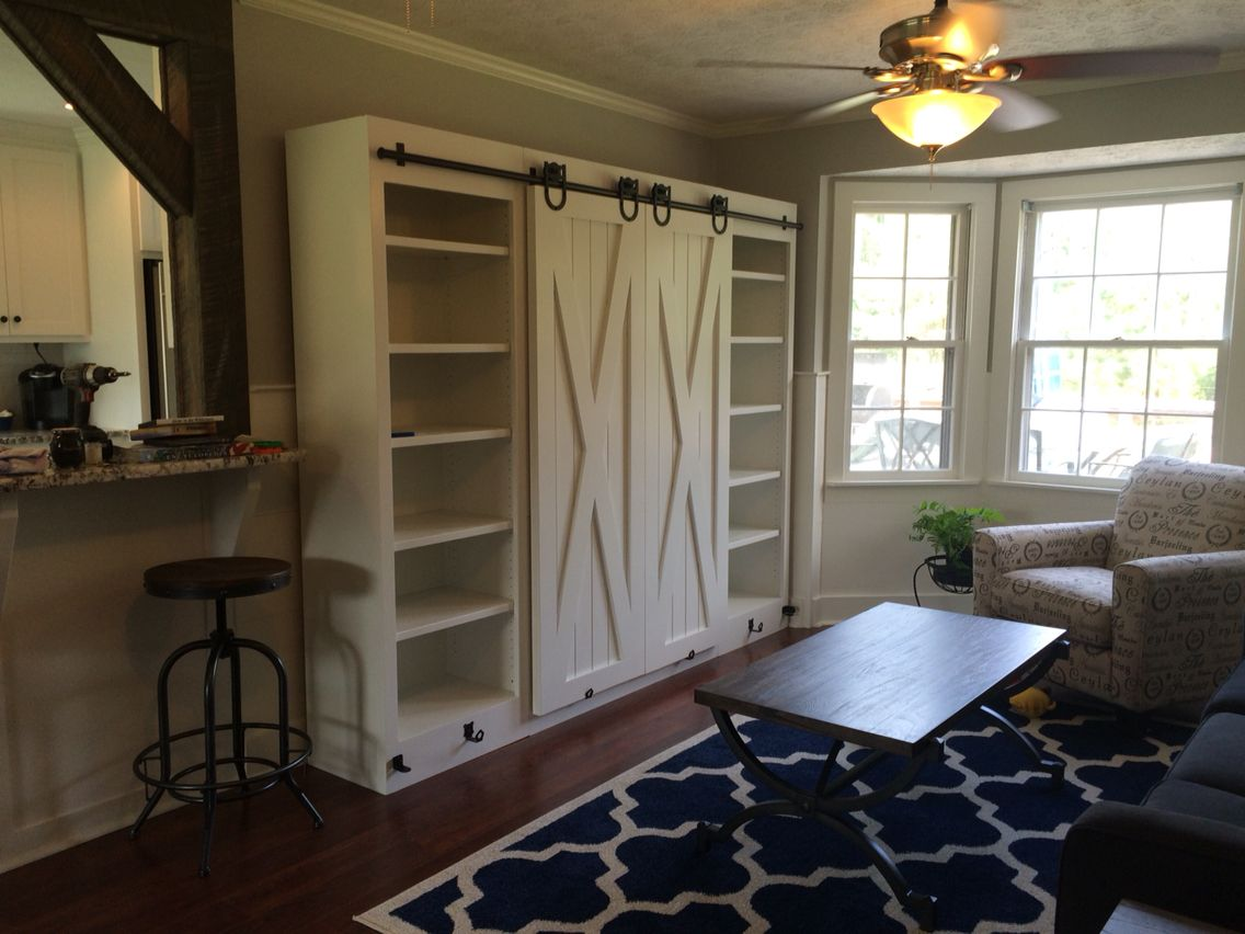 Entertainment Center With Sliding Barn Doors Diy
