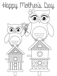 Tesco Mothers Day Card Template Owl Coloring Pages Mothers Day Cards