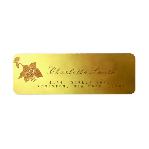 Floral Lila Golden Foil Return Address Labels