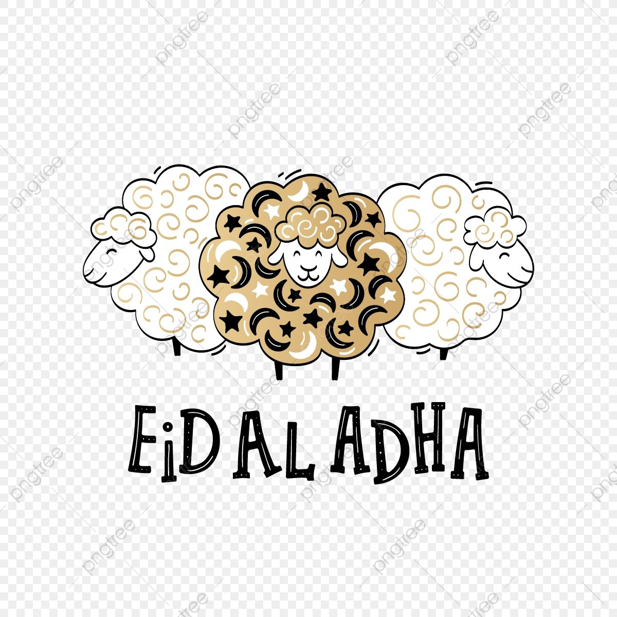 Eid Al Adha Festival Poster With Lettering And Sheeps In Cartoon Sheep Clipart Png Islamic Png And Vector With Transparent Background For Free Download Eid Stickers Eid Al Adha Eid Al