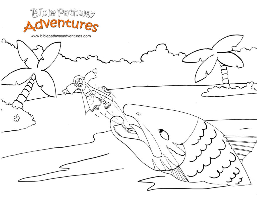 Jonah And The Big Fish Fish Coloring Page Bible Coloring Pages Coloring Pages