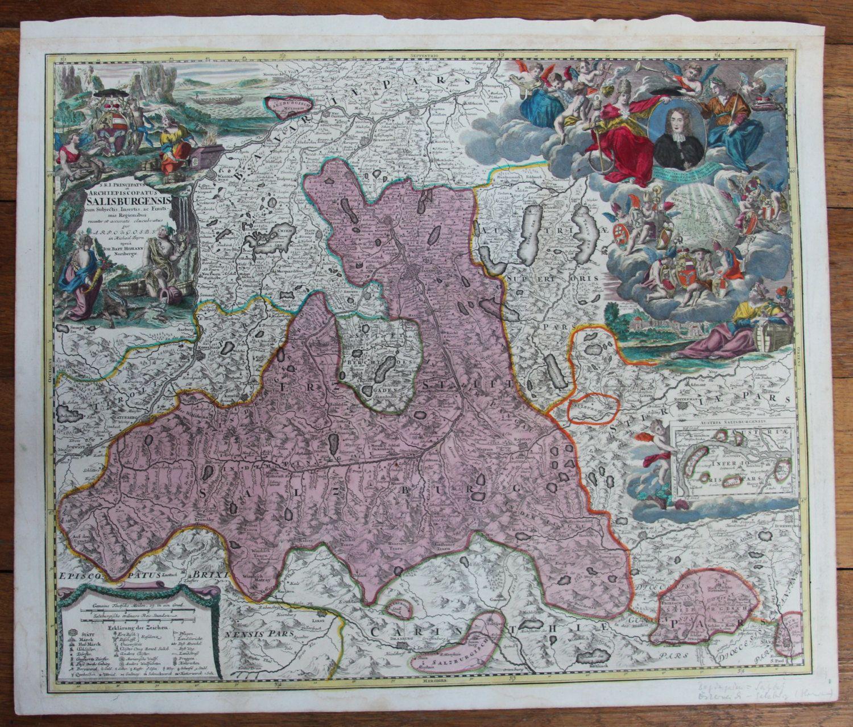 Rare antique Map of The Region around Salzburg Austria (Johann ...