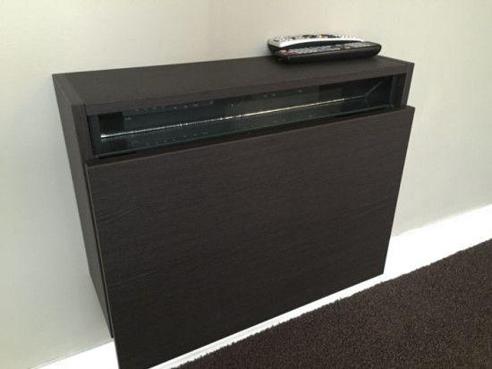 Beau IKEA Hack   Slim Wall Mounted Cabinet Holding Cable Box Out Of Sight;  Angled Mirror Along Top Inside Of Box Allows You To Use The Remote Without  Opened By ...