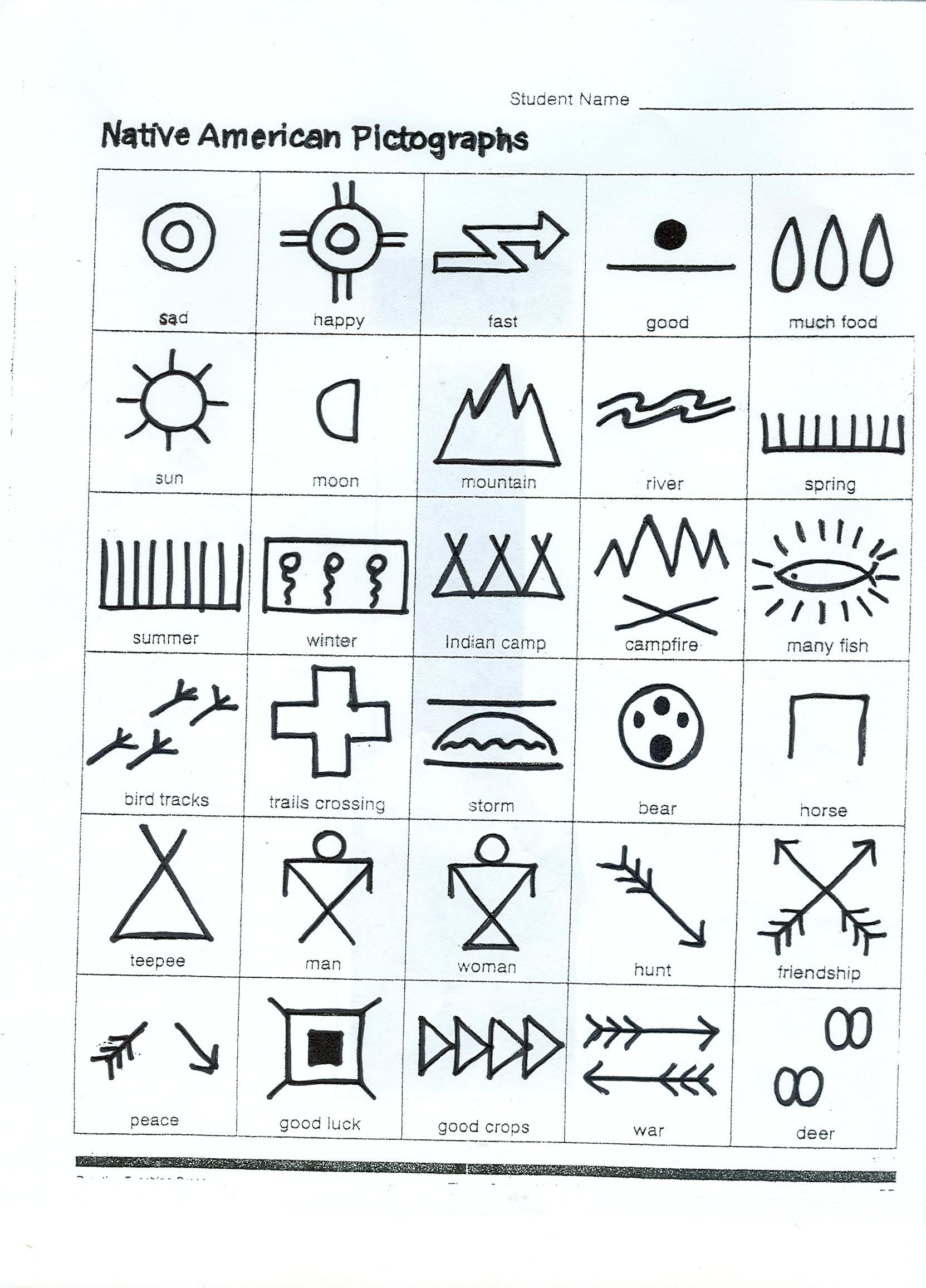 native american writing---make up a story with pictures---activity