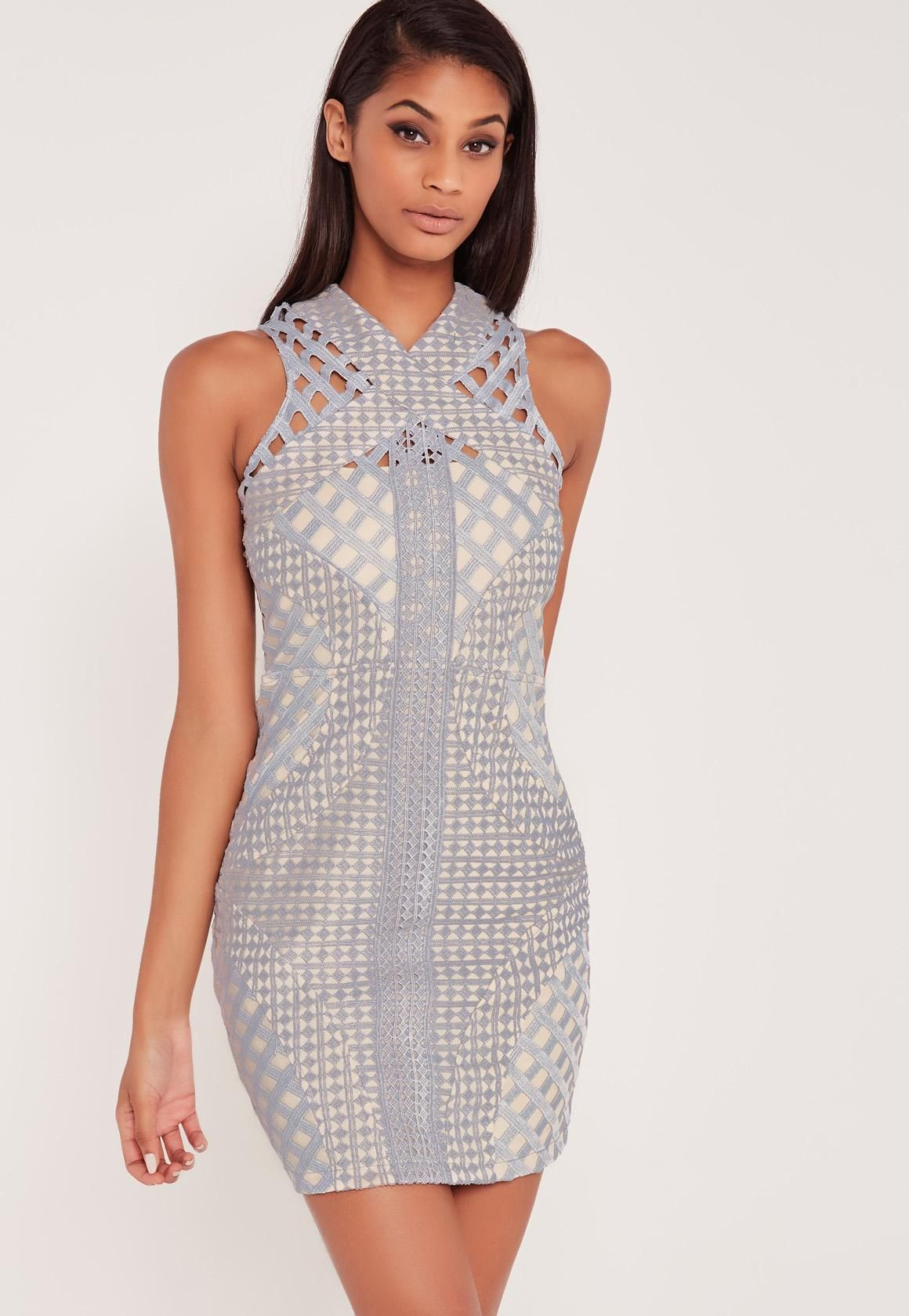 aefb63375483 Missguided - Carli Bybel Lace Cut Out Cross Neck Bodycon Dress Grey ...