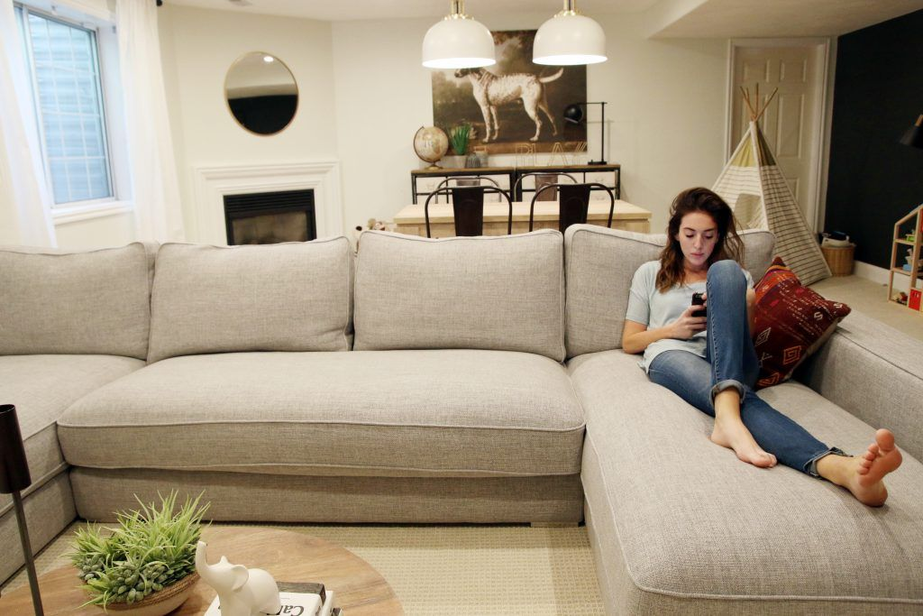 Our New Sectional From Interior Define Basement Room Living Room Basement Family Rooms