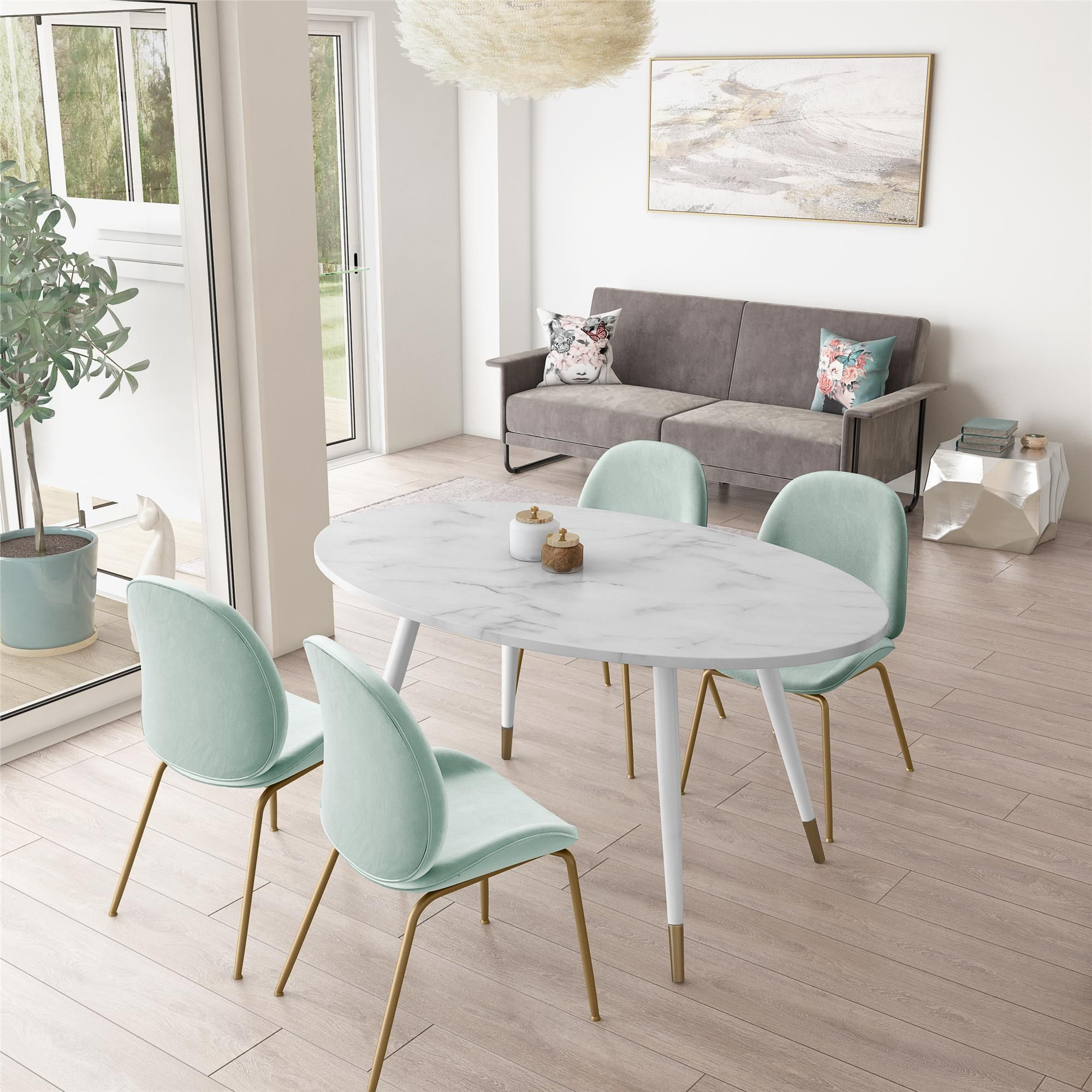 Cosmoliving Amari Faux Marble Dining Table Walmart Com Dining Table Marble Faux Marble Dining Table Modern Oval Dining Table