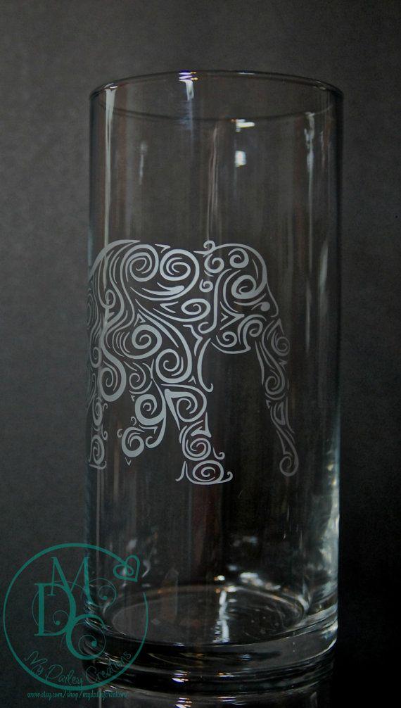Glass Etched Ornate Elephant Vase Tinted Silver, Etched Sandblasted Sand Carved Glass Art Glass Etching