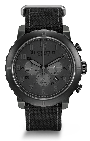 Stand at attention with this rugged military-inspired chronograph timepiece, the Citizen Military Chronograph.