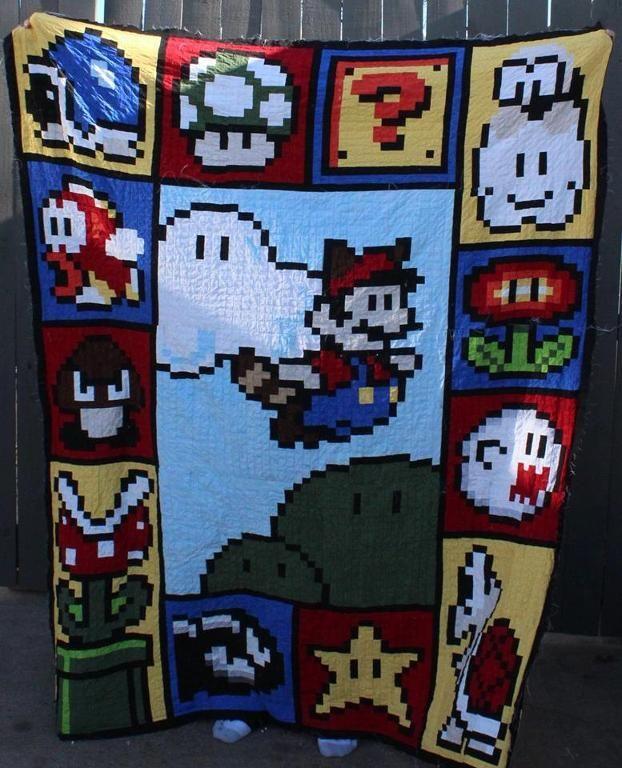 Free Pattern Friday Get Nerdy With 7 Geek Loving Patterns Mario Quilt Quilting Designs Mario Quilt Pattern