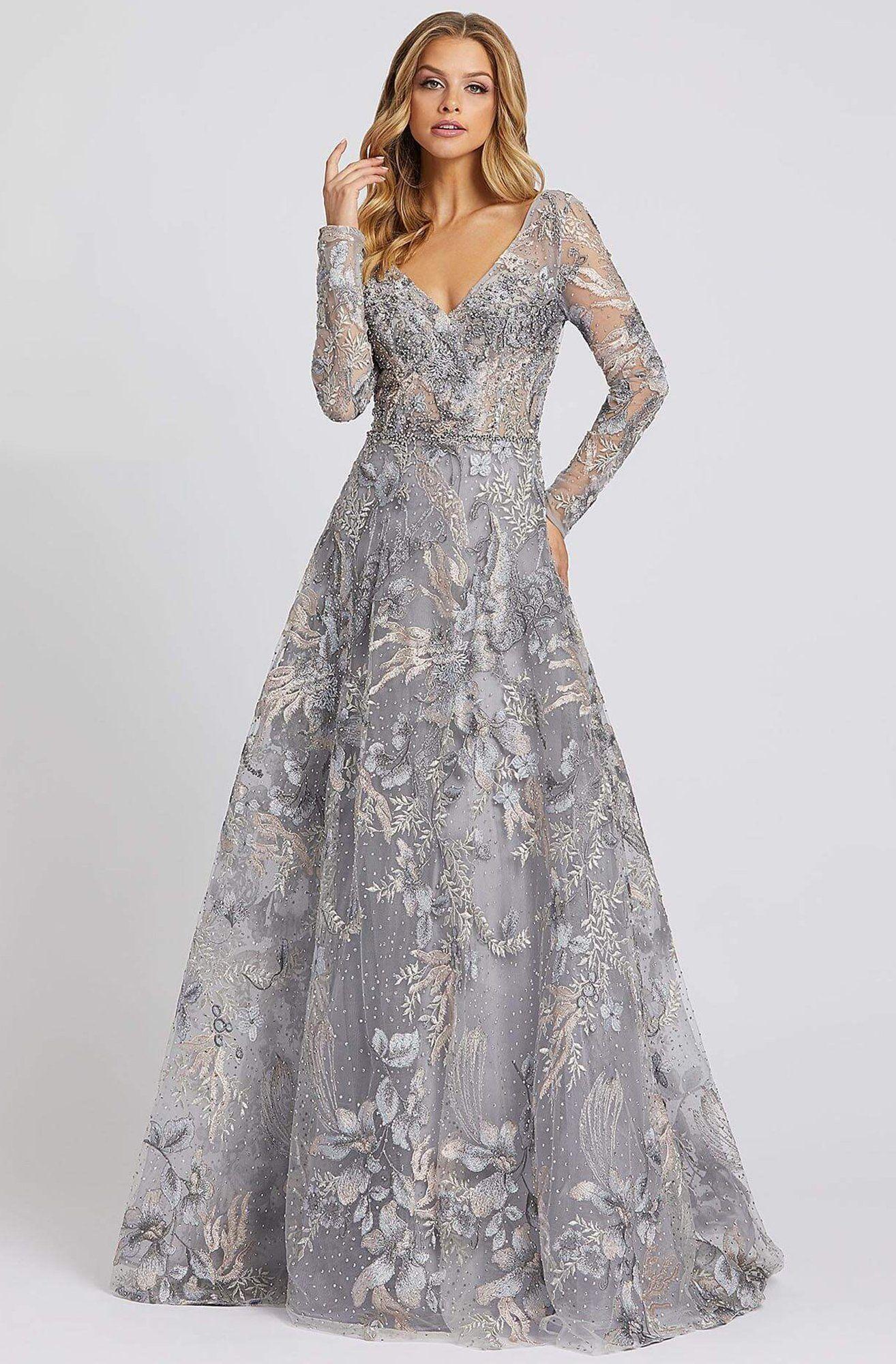 Mac Duggal Evening 20214d Illusion Long Sleeve Embroidered Gown In 2021 Long Sleeve Embroidered Dress Long Sleeve Dress Formal Embroidered Dress [ 2000 x 1314 Pixel ]