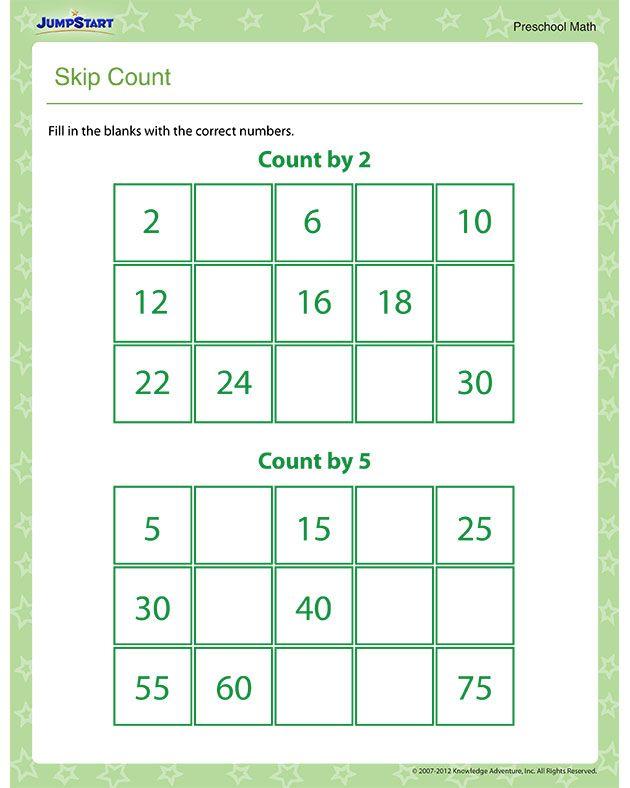 Skip Count – Free Math Worksheet for Preschool | Math | Pinterest ...