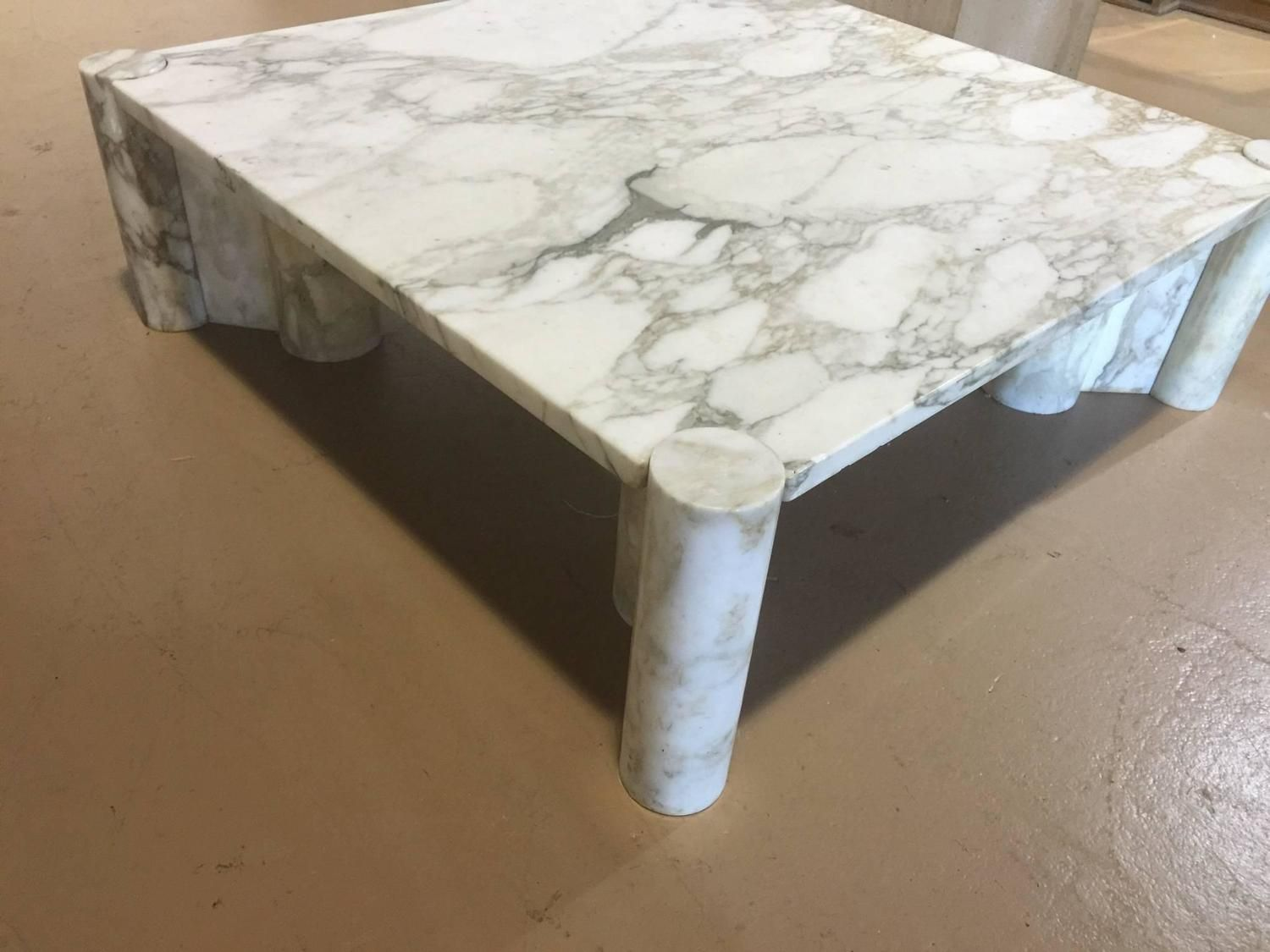 Exceptional Italian Carrara Marble Coffee Table By Gae Aulenti 9