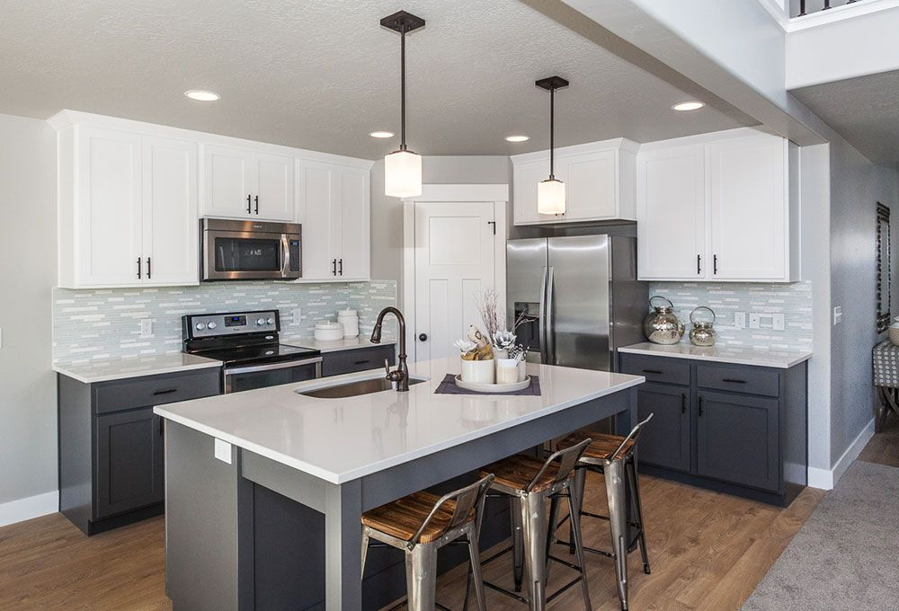 Broodmoor Park Model Home Lehi Love This Kitchen And The Icy Blue Subway Tile Back Splash Upper Kitchen Cabinets Grey Kitchen Cabinets Gorgeous White Kitchen