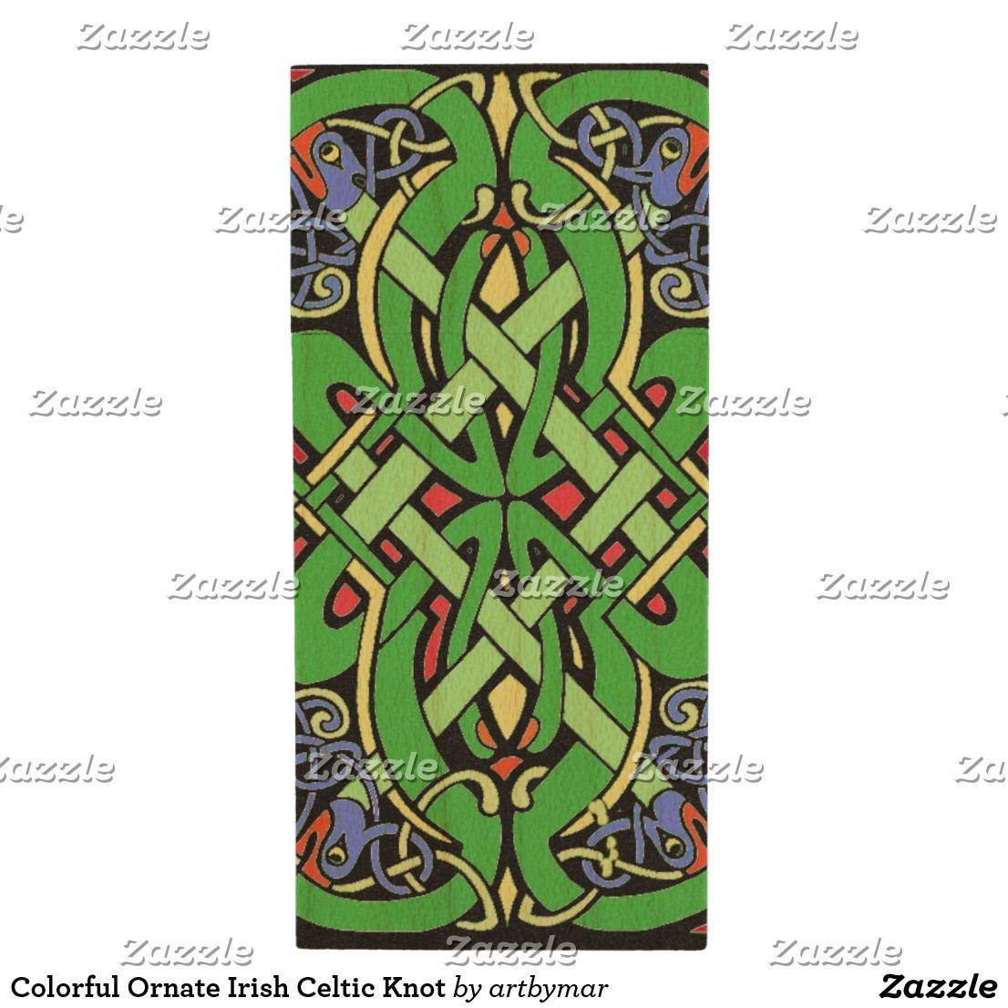 Colorful ornate irish celtic knot wood usb flash drive