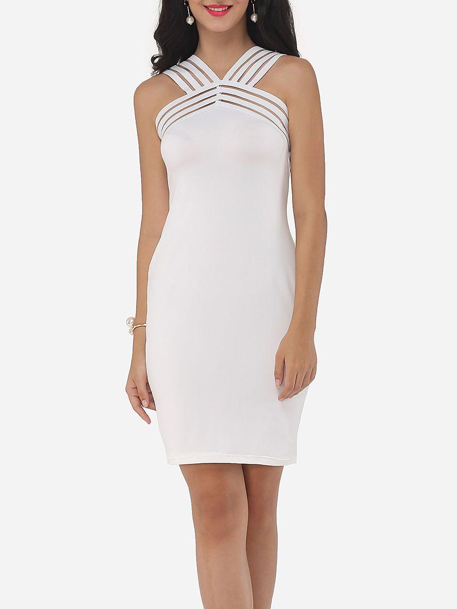 a07ad34df4  AdoreWe  FashionMia Cocktail Dresses - FashionMia Asymmetric Neckline  Dacron Patchwork Plain Seethrough Cocktail-