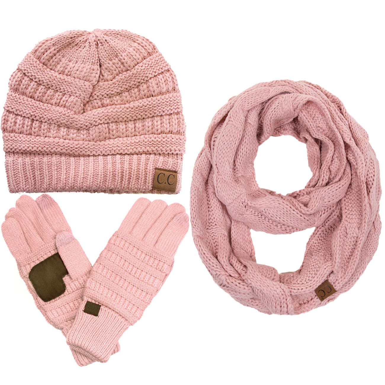 67ecf506c93911 CC 3pc set Warm Chunky Soft Stretch Cable Beanie, Gloves and Scarves ...