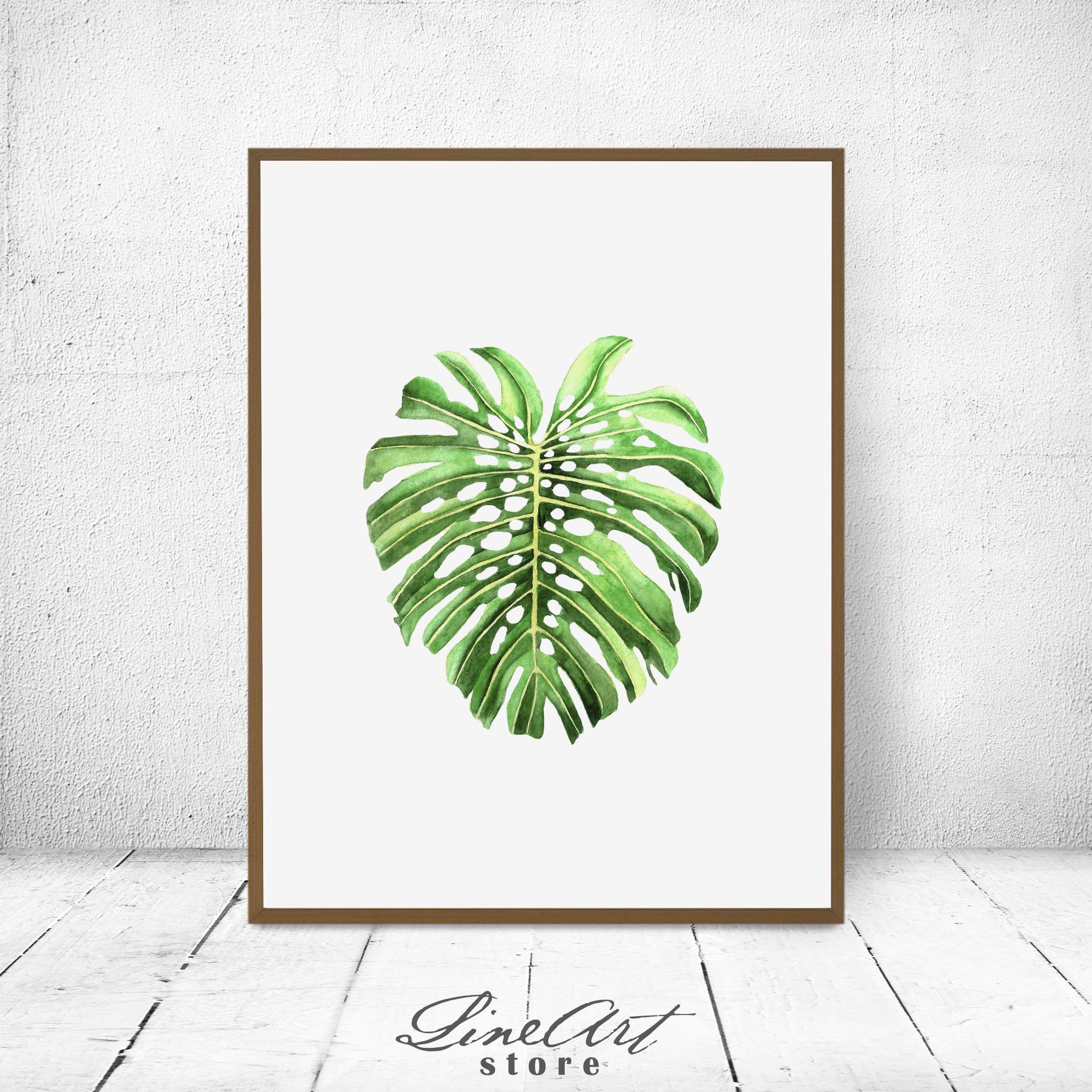 monstera leaf botanical wall art print tropical monstera