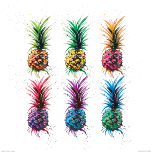 Art Group Pineapple Rainbow Picture Art Print With White Frame - Trouva