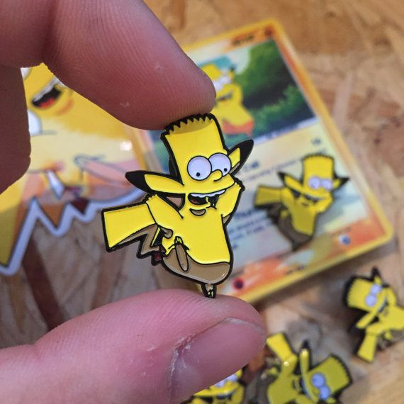 Bart x Pikachu Pin Badge with Trading Card & by ThumbsDesign