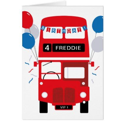 London Red Bus Personalized Age Birthday Card Zazzle Com In 2021 Birthday Cards London Red Bus Red Bus