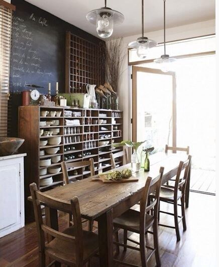 Rustic Kitchen Table Lights: Chalkboard Table Industrial Lights