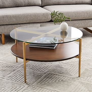 Our Two Tiered Art Display Coffee Table Doubles Down On Mid Century Style And Storage Space With I West Elm Coffee Table Round Walnut Coffee Table Coffee Table