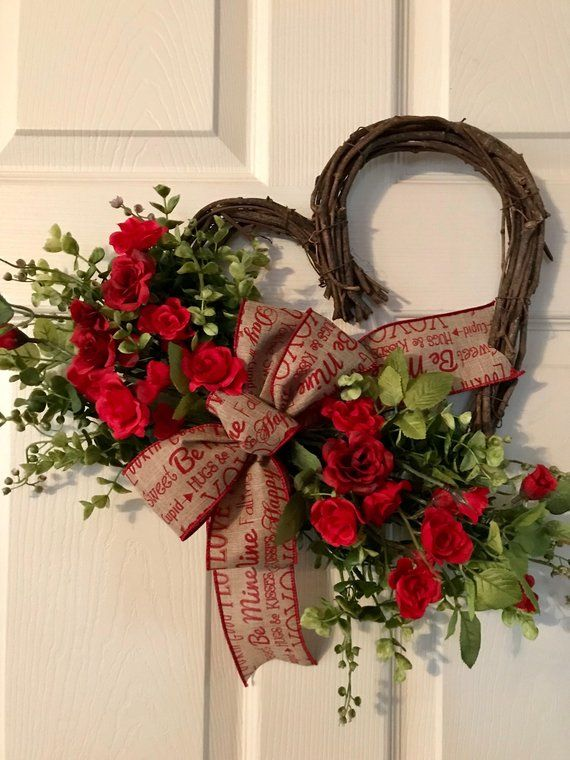 Valentine Wreath Heart Wreath Valentine Red Rose Wreath Valentine Door Hanger Valentines Wreath Wildflower Wreath With Images Valentines Heart Shaped Wreath Valentines Door Hanger
