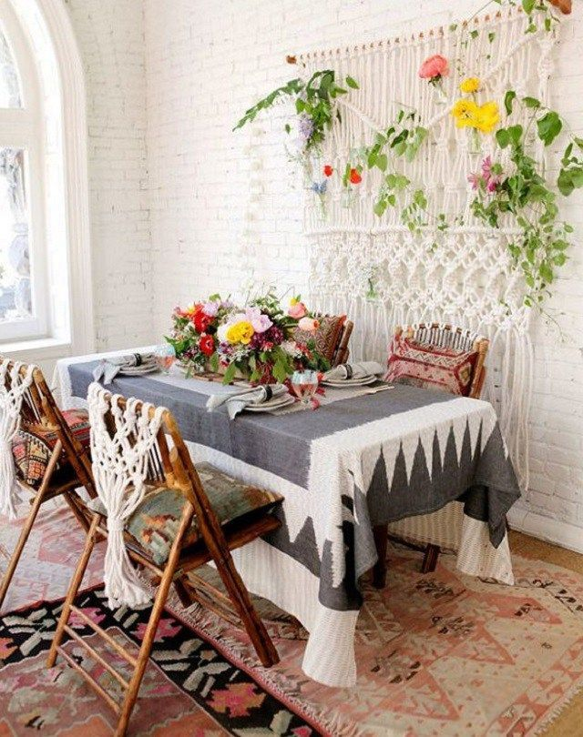 Old Table and Chairs for Small Bohemian Style Dining Room Design