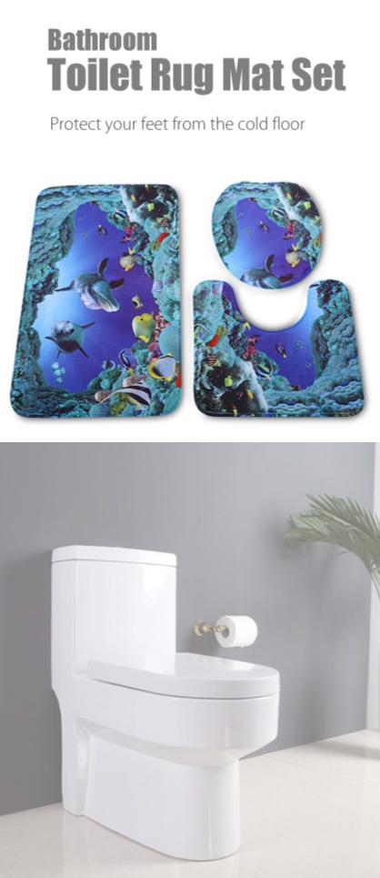 Sea Fish Bathroom Toilet Floor Rug Mat Set Lid Cover