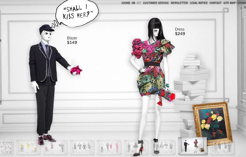 "LANVIN for H&M, (Website Screenshot), ""SHALL I KISS HER?"", pinned by Ton van der Veer"