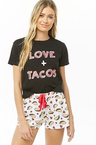 506175922 Love + Taco Graphic PJ Set in 2019   Products   Pj sets, Gym shorts ...